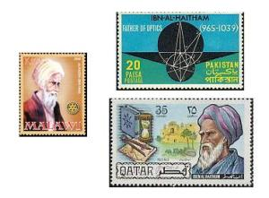 Stamps issued by Malawi (2008), Pakistan (1969) and Qatar (1971) in honour of Ibn al-Haytham