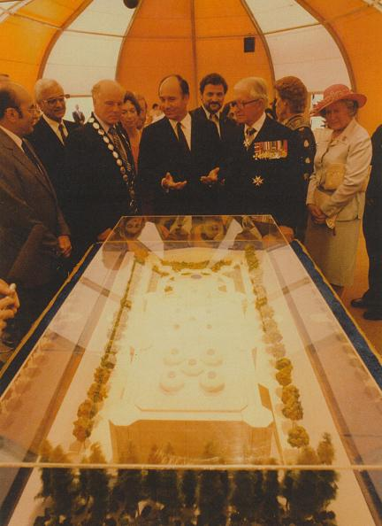 The Aga Khan explaining the Model to some of the guests at the Foundation Ceremony