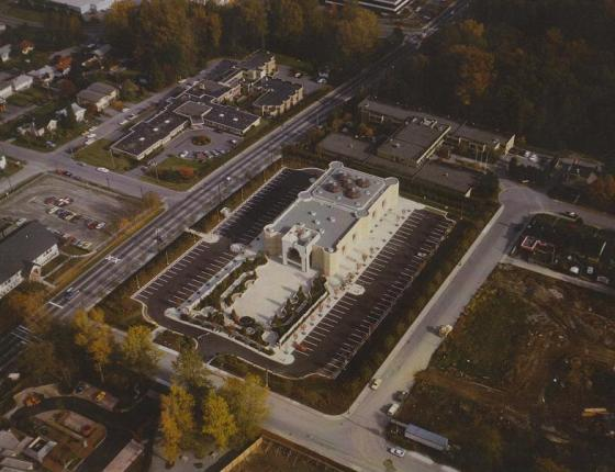 Ismaili Jamatkhana and Centre, Burnaby, Bird's View, 1985. The surronding area is now significantly different with new residential and commercial development. The picture provides a view of the five copper domes on the roof of the building.