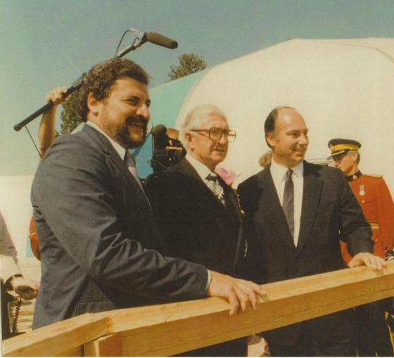 "Ismaili Jamatkhana and Centre, Foundation Ceremony, July 26 1982. Bruno Freschi (left) with Honourable Henry Bell-Irving and His Highness the Aga Khan. The Aga Khan in his speech said: ""This will be a place of congregation, of order, of peace, of prayer, of hope, of humility, and of brotherhood. From it should come forth those thoughts, those sentiments, those attitudes which bind men together and which unite."""