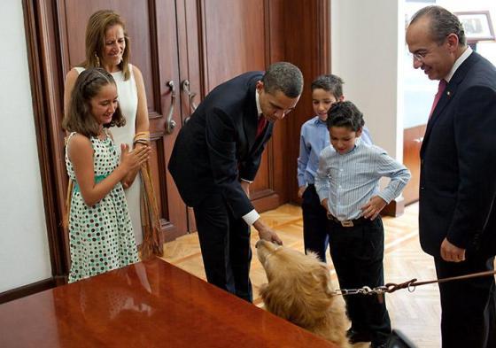 The president meets Mexican President Felipe Calderon's family including their golden retriever on April 16, 2009. White House Photo, by Pete Souza