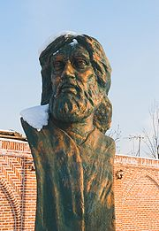 Sculpture depicting Shams Tabriz near his grave in Khoy