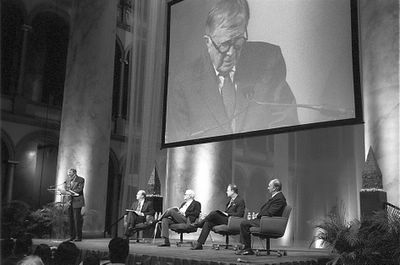 "The Aga Khan, Charles Correa, Robert Ivy and Martin Filler in a panel discssion on ""Design in the Islamic World and Its Impact Beyond"", January 25, 2008 at the NBM, Washington. Photo: Nicky Lubis"