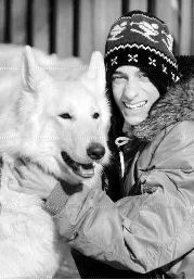 Naz Bhimani enjoys the winter weather with his half-blind German shepherd, Kaya.
