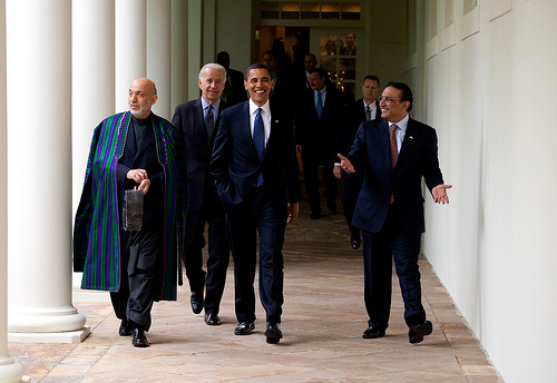The three Presidents walk along the Colonnade following a US-Afghan-PakistanTrilateral meeting in Cabinet Room. White House Photo by Pete Souza