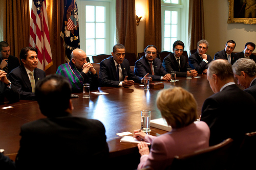 President Barack Obama with Afghan President Karzai and akistan President Zardari during a US-Afghan-PakistanTrilateral meeting in Cabinet Room May 6, 2009. White House Photo by Pete Souza