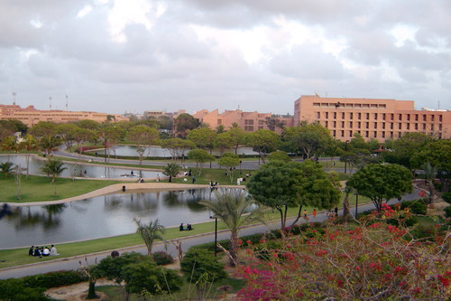 The Aga Khan University and Medical Centre in Karachi built by His Highness the Aga Khan. It pursues excellence in learning to expand minds, and provides outstanding medical facilities to restore health.