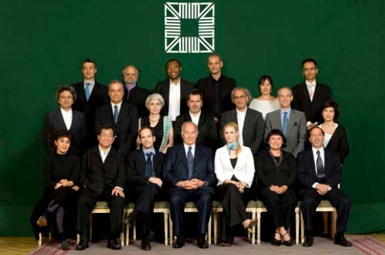 The Aga Khan Award for Architecture Logo forms a backdrop in this photo of the Master Jury of the 2007 Award Cycle
