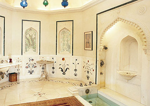 "On their honeymoon in 1935, husband Cromwell wrote, Duke fell in love ""with the Taj Mahal and all the beautiful marble tiles with their lovely floral designs."" She immediately commissioned a bathroom inspired by the inlaid motifs. Phtograph: Smithsonian Magazine. Copyright."