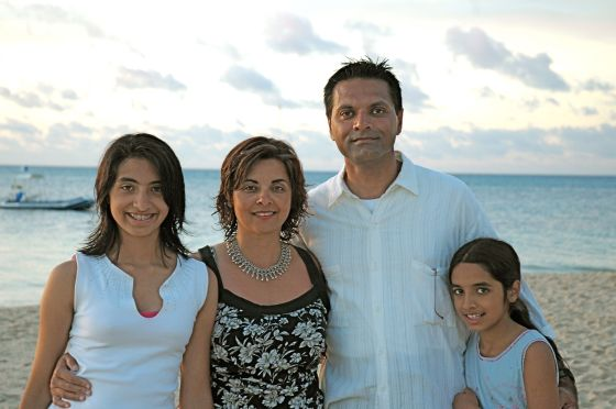 Arif Babul with wife Naznin and daughters Aliya-Nur (left) and Shazia 'Ayn