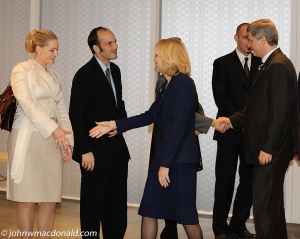 Prince Hussain Aga Khan and his wife, Princess Khaliya Aga Khan, greeting Canada's Prime Minister, Stephen Harper, and his wife, Laureen, as they arrive for the opening of the Delegation of the Ismaili Imamat Buiding in Ottawa on December 6, 2008. Photo © John MacDonald