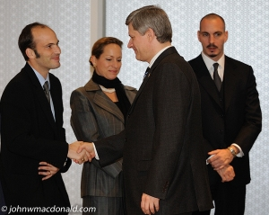 Prince Hussain greeting Canada's Prime Minsiter, Stephen Harper,  while his sister, Princess Zahra Aga Khan, and brother, Prince Rahim Aga Khan, look on. Photo © John MacDonald