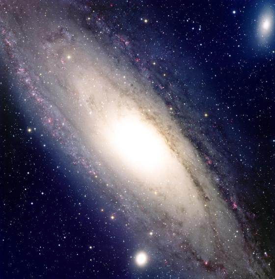 M31 is a large spiral galaxy, it is the nearest large galaxy to the Milky Way and possibly a similar to the Milky Way. M31 is visible to the unaided eye as a cloudy star. Remember, most of the stars seen in this image are foreground stars in the Milky Way. It is approaching us at 266 km/sec.