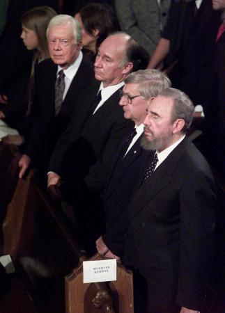Former President Carter, His Highness the Aga Khan, Former Canadian Governor General Romeo Le-Blanc and President Castro attend the state funeral for former Canadian Prime Minister Pierre Trudeau in Montreal on October 3, 2000