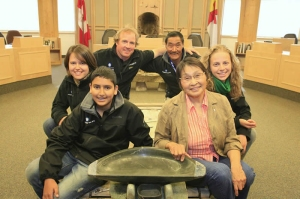 Bilaal, front left, with Participants and Elected Officials as follows: Annelise Miska (student), Geoff Green (Expedition Leader) Jushua Illuaq (Elder & Education Team member) Sarah Hennekens (student) and Commissioner of Nunavut, The Honourable Ann Hanson