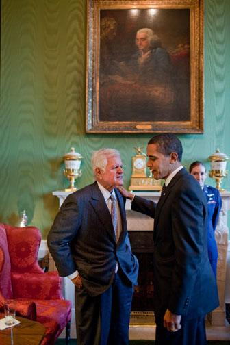 President Barack Obama talks alone with Sen. Edward Kennedy in the Green Room of the White House March 5, 2009. White House Photo, Pete Souza