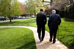President Barack Obama and Sen. Ted Kennedy walk down the South Lawn sidewalk at the White House April 21, 2009. White House Photo: Pete Souza