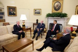 President Barack Obama meets with former President Bill Clinton, Sen. Ted Kennedy and Vice President Joe Biden in the Oval Office April 21, 2009. White House Photo, Chuck Kennedy