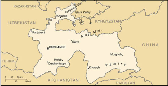 Map of Tajikistan. Courtesy Perry-Castañeda Library Map Collection, www.lib.utexas.edu/maps/