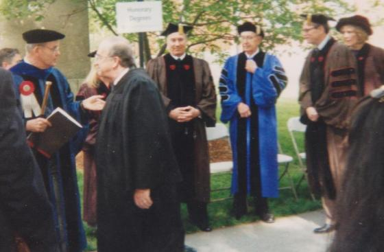"Mawlana Hazar Imam, His Highnes the Aga Khan, pictured at ""The Green"" at Brown University, 1996. Photo: Abdulmalik Merchant"