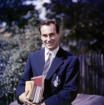 His Highness the Aga Khan graduated from Harvard University in 1959 with a BA Honours in Islamic History. This is his portrait in a Harvard University blazer as he smiles with an armful of books, on the Harvard Campus, Cambridge, Massachusetts, 1958. Copyright: Photo by Hank Walker/Time & Life Pictures/Getty Images.