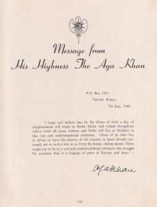Aga Khan III message to South Africa