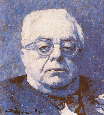 A mosaic of His Highness the Aga Khan III, 48th Imam of Shia Imami Ismaili Muslims, by by the late Pakistami artist Gulgee