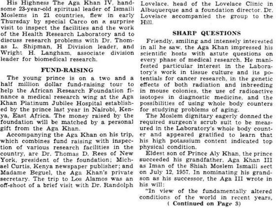 Aga Khan IV Los Alamos Lab Visit News Report page 1