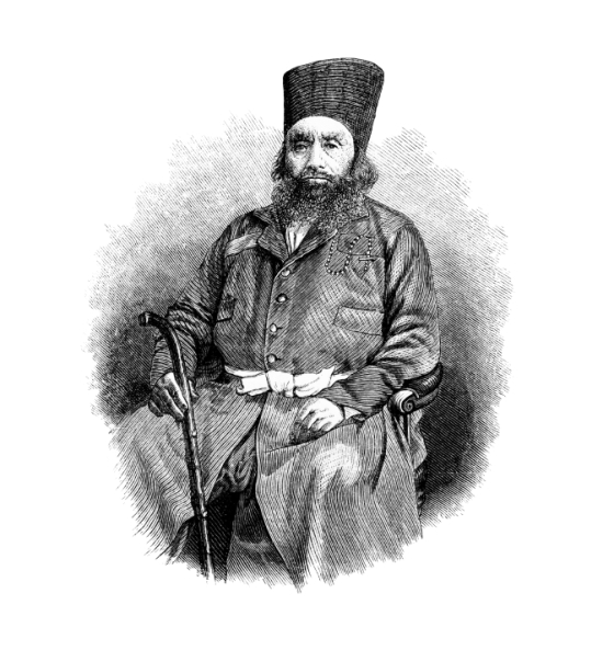 This vintage engraving depicts the portrait of Aga Khan I (1804 - 1881), the 46th Imam of the Nizari Shia Ismaili Ismaili Muslims. © iStockphoto.com