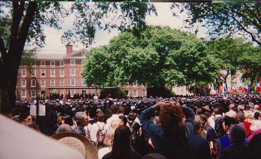 "May 27, 2009: A section of the large crowd witnessing the University Ceremony at Brown University's ""Green."" The Honorary Degree recipients, including the Aga Khan, are on the stage in the distant. Photo: Malik Merchant"
