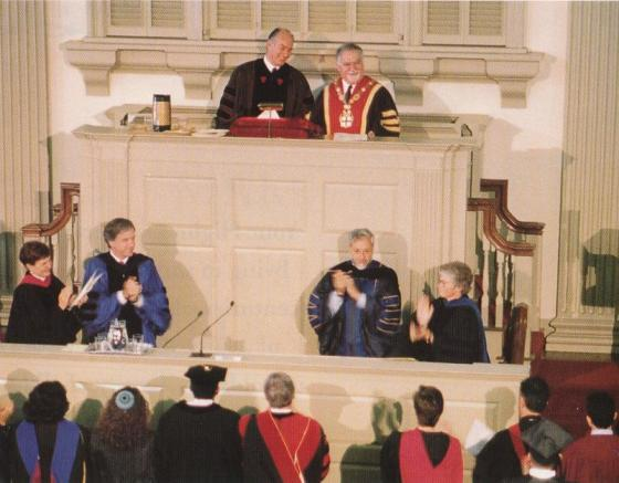 May 26, 1996: His Highness the Aga Khan receives a standing ovation at the conclusion of the Baccalaureate Address at Brown University, Providence, Rhode Island. Next to him is Vartan Gregorian who was then President of the University.
