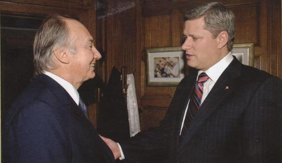 Canada's Prime Minister, Stephen Harper, invites the Ismaili Imam, His Highness the Aga Khan to speak to the joint session of the Canadian Parliament on February 27, 2014.  Here they are pictured in the Prime Minister's Office at the Parliament Building in Ottawa during one of Aga Khan's  visits to the country. Photo credit: Akdn.org