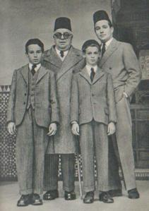 The Aga Khan pictured with his son, Prince Sadruddin, and grandsons Prince Karim (left) and Prince Amyn
