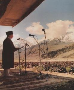 His Highness the Aga Khan or Mawlana Hazar Imam is seen addressing his followers in Ishkashim, Badakhshan, during his first historic visit to the region in 1995.