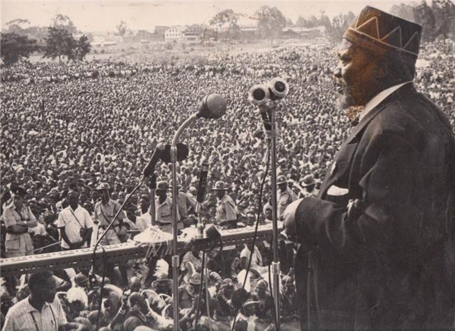 President Jomo Kenyatta addressing a political rally in Kenya.