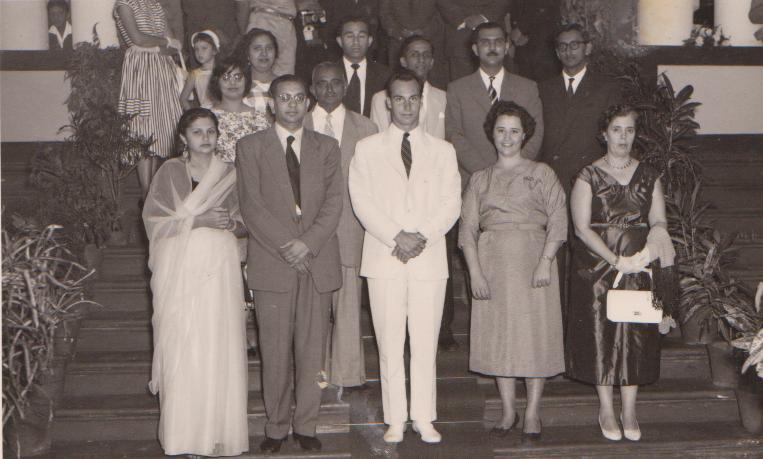 His Highness the Aga Khan, in front row in white suit, seen with leaders and teachers of the Lourenço Marques during his 1958 visit to Portuguese East Africa