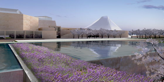 A depiction of the  Aga Khan Museum, the Ismaili Centre and their Park..