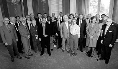 "Mohammed Arkoun is seen above in the front row in a group picture taken with some of the speakers of the ""Frontiers of the Mind"" symposium held in 1999 at the US Library of Congress. His spirited presentation was on the need to reconceptualize the relationships between Islam and the West, building upon the intellectual and liberating traditions of Islamic thought rather than solely upon the recent ""fundamentalist"" assertions of Islamic polities The speakers at the symposium included (front row), Pierre Manent, Michael Fishbane, Mary Douglas, David Baltimore, Kwabena Nketia, Judith Brown, Martin Rees, Mohammed Arkoun, Michael Monastyrsky, Laura Nader and Daniel Bell; (back row) Vyacheslav Ivanov, Michael Woodford, Bruce Alberts, Jerome Friedman, Eric Lander, Marc Davis, Jonathan Spence, Prosser Gifford, Bert Bolin, Steven Pinker, Nils Hasselmo, Gerald Edelman, Leon Lederman, Neil Smelser, Shlomo Aviner, Wallace Broecker and Charles Rosen. Photo credit: Library of Congress Photo by Pat Fisher."