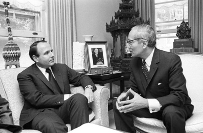 The late Prince Sadruddin Aga Khan with Secretary-General U Thant at his home on 23 June 1971. Photo: Teddy Chan, United Nations.