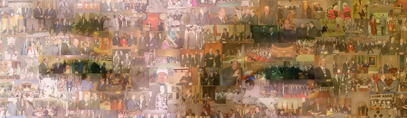 """The closer you come the more you will see him."" A digital representation of some of His Highness the Aga Khan's activities during his Imamat. Please click ofr enlargement. Copyright: Akber Kanji."