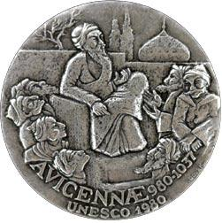 To mark the 1,000th birth anniversary of the most influential of Islam's philosopher-scientists, UNESCO minted this commemorative medal in 1980. Designed by sculptor-medallist Victor Douek, the obverse depicts a scene showing Avicenna surrounded by his disciples.