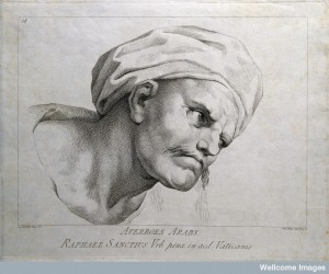 Averroes. Line engraving by D. Cunego, 1785, after A. R. Men after Raphael Sanzio. Credit: Welcome images. Pleasse click on image for article.