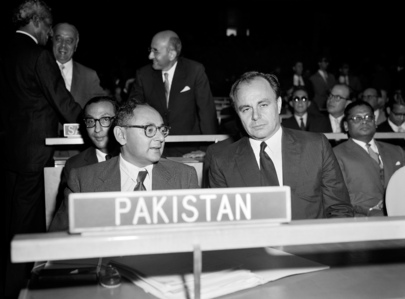 Photo taken at the opening on 15th September 1959 of the 14th session of the United Nations General Assembly. Seated at the head of the delegation of Pakistan is Mr. Manzur Qadir, then Minister for Foreign Affairs. At right is Prince Amyn Aga Khan's father, the late Prince Aly Khan, Permanent Representative to the United Nations. Photo: United Nations Photo Library. Please click for article.