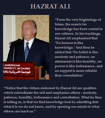 His Highness the Aga Khan seen giving his commencement lecture at the American University in Cairo on June 15, 2006. The excerpt on Hazrat Ali, from whom the 49th Ismaili Imam is directly descended, is from the address. Photo Credit: American University in Cairo.