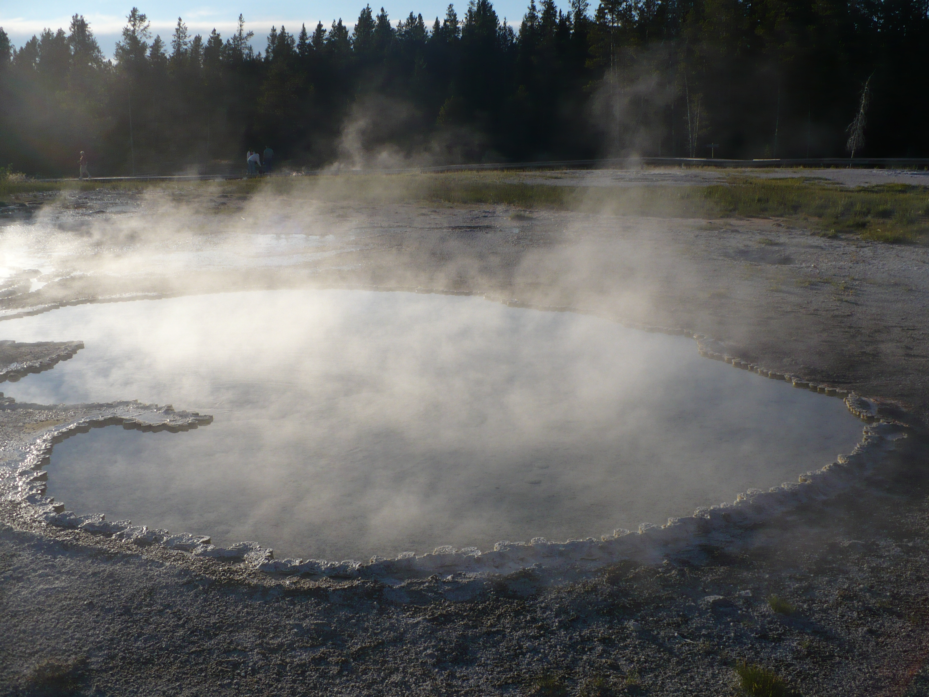 Heart Spring received its name because of the heart-like shape of the crater. It is 8x13 feet and has a depth of 16 feet.  Heart Spring has had temperature fluctuations from 150-202°F. This wide range of temperature has allowed microbial growth to form varicolored patterns. This spring is typical of many of Yellowstone's thermal springs. Nearly 10,000 thermal features exist in Yellowstone and many are alkaline hot springs similar to Heart Spring in size and appearance. One feature which distinguishes each is the bright, colorful cyanobacteria and algae which grow along the edge of run-off channels. Each spring has its unique pattern. Photo: Nurin Merchant. Copyright.