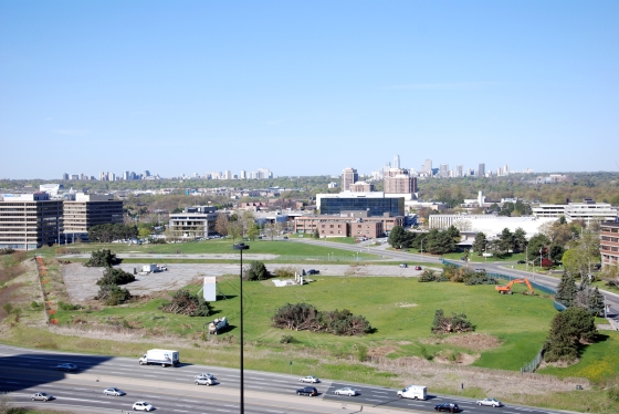 A photo from April 2010 of the site of the Aga Khan Museum, the Ismaili Centre and their Park as the trees were being removed to make room for the contruction.