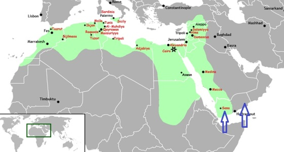 Shaded in green, the Fatimid Caliphate at its height. Yaman (Yemen) is shown by blue arrows. The Ismaili dawa'h in India originated in Yaman, when the Fatimid Empire was not yet established. Click on map for enlargement.