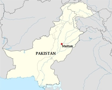 Multan is known as the City of Sufis or City of Saints and Madinat-ul-Auliya because of the large number of shrines and Sufi saints from the city. Map Source: Wikipedia. Edited by Simerg.
