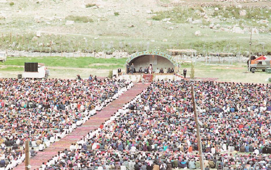 His Highness the Aga Khan pictured amongst his followers in Badakhshan in May 1995.