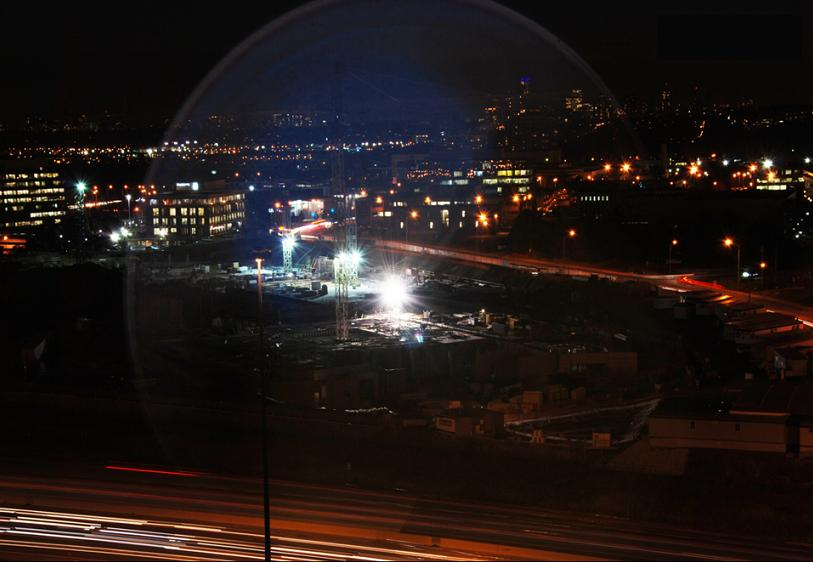 A halo from the construction site of the new Ismaili Jamatkhana and the Aga Khan Museum in Toronto. The long exposure created this halo from the lights on November 29, 2010. It is not an effect that Jim Bowie created, and he can't quite explain it. Photo: Jim Bowie, Toronto.